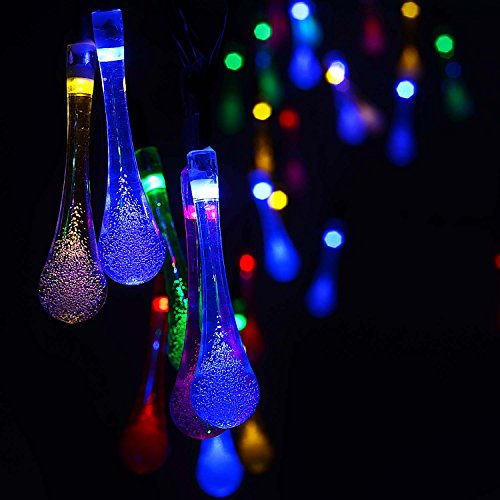 ACEHOME Solar Outdoor String Lights, 20ft 30 LED Warm White Water Drop Solar String Fairy Waterproof Lights Christmas Lights Solar Powered String Lights for Patio, Lawn, Christmas,Party(Multi Color)