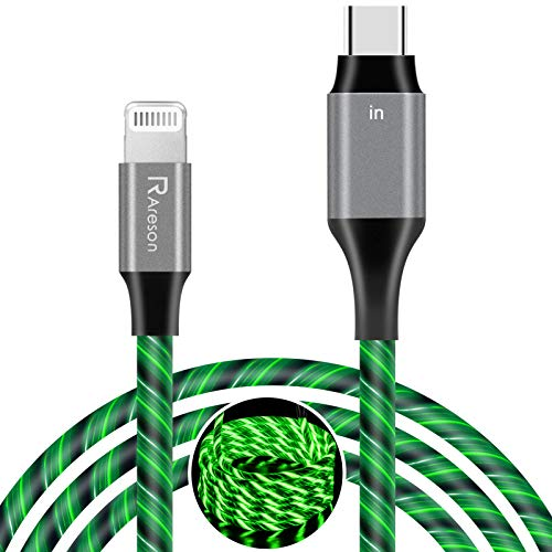 chargers with mfi lights USB C to Lightning Cable 6Ft, Areson MFi Certified iPhone 12 Lightning to USB C LED Light Up Charger Charging Cord Compatible with iPhone 12/11/Pro/Max/X/XS/XR/XS Max/8/Plus, AirPods Pro-Green