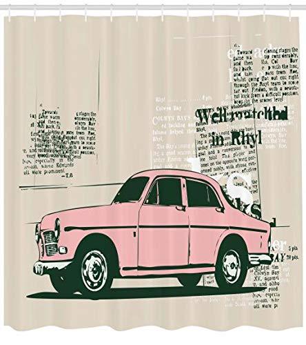 ABAKUHAUS Oldtimer Duschvorhang, Alte Zeitung Cuts, aus Stoff inkl.12 Haken Digitaldruck Farbfest Langhaltig Bakterie Resistent, 175 x 200 cm, Pink Beige