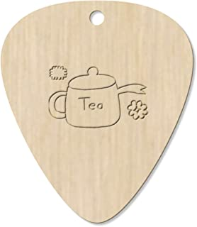7 x 'Tea Pot with Flowers' Guitar Picks / Pendants (GP00011347)