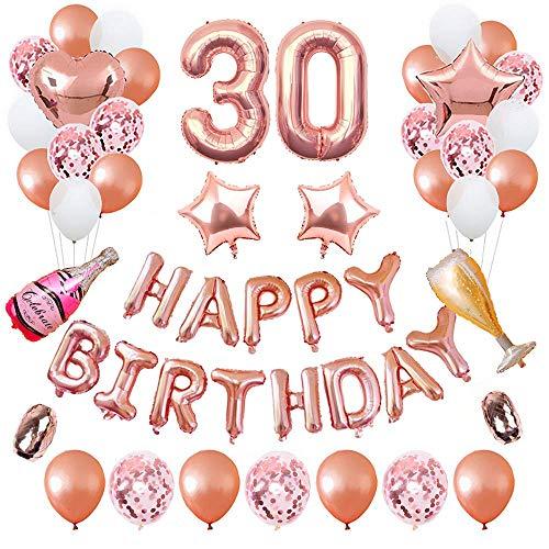 ASANMU Geburtstagsdeko Rosegold Set, 30. Geburtstag Dekorationen Banner Ballon Happy Birthday Ballons Geburtstag Party Deko Geburtstagsfeier Dekoration Geburtstagsüberraschung für Tochter Mädchen