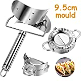 3 Pieces 9.5 cm Stainless Steel Dumplings Maker, 1 Dumpling Skin Maker 2 Dumpling molds Chinese Dumpling Cutter Pie Ravioli Empanadas Press Mold Kitchen Accessories