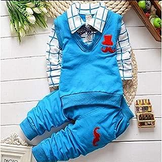 ملابس الاطفال 2 in 1 Children Casual Clothing Set Cotton Beard Pattern Long Sleeve Set Top + Pants, Height:90cm(Red) ملابس الأولاد (Color : Light Blue)