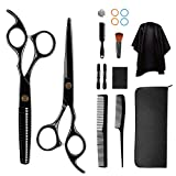 12 Pcs Hair Cutting Scissors Set 4CR stainless steel Professional Hairdressing Scissors Set,Thinning Scissors, Comb,Cape, Clips,Haircut Scissors Shears for Barber, Salon, Home