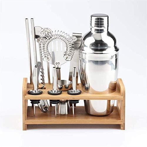 Juego de coctelera de 12 piezas con soporte de bambú para hacer cócteles, kit de bar con herramientas para bebidas a prueba de tontos para varios cócteles lucar (color: multicolor, tamaño: 750