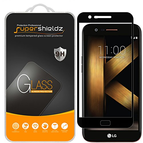 Supershieldz Displayschutzfolie aus gehärtetem Glas für LG K20 Plus, vollständige Bildschirmabdeckung, kratzfest, blasenfrei, Schwarz, 2 Stück