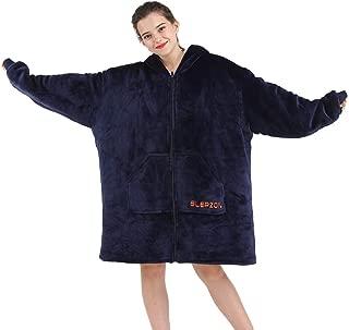 SLEPZON Blanket Sweatshirt, Over-Sized Hoodie Blanket, Deluxe Fleece Blanket with Sleeves and Pockets for Men, Women, Children, Front-Zipper Easy to Get in&Out of, Navy