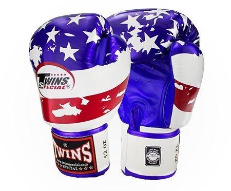 Twins Special Fancy guantes de boxeo de piel de velcro en la muñeca la bandera americana tamaño 16oz.