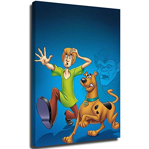 FOCLKEDS Scooby Doo Mystery Mayhem TV Show Poster Scooby Doo, stampa artistica su tela con cornice, 40,6 x 61 cm, pronta da appendere