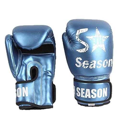 LITINGT Guantes de Entrenamiento de Boxeo Guantes de Boxeo Muay Thai Kick Boxing Cuero Sparring Heavy Bag Workout MMA (Color: Azul, Tamaño: 10 oz)