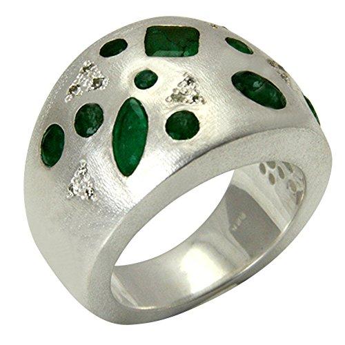 Anillo de plata de ley 925, esmeralda con diamantes