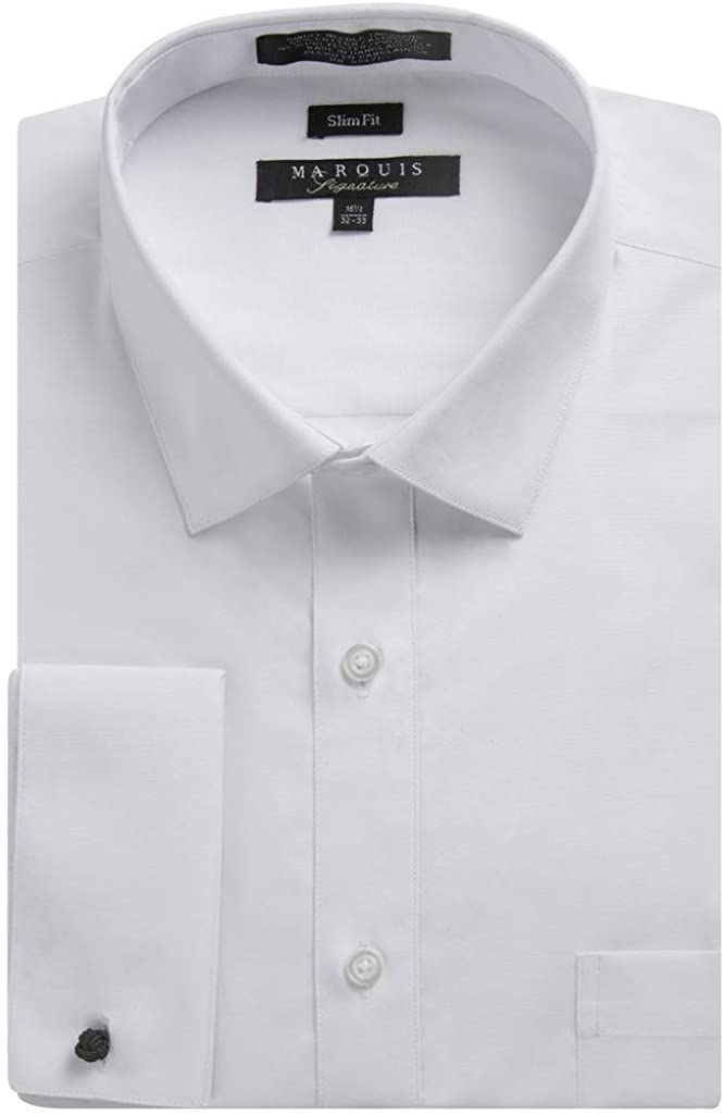 Marquis Men's Slim Fit French Cuff Spread Collar Solid Dress Shirt (Cufflinks Included)