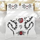 BEDNRY Juego de Ropa de Cama,Dragón japonés Estilo de Tatuaje Tribal Criaturas indígenas asiáticas con Detalles artísticos Negro Blanco Rojo,1 Funda Nórdica 140x200cm y 2 Funda de Almohada