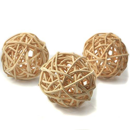 10 Stück Natur Wicker Rattan Kugeln Tischschmuck Hochzeit Party zum Aufhängen Wobble Ball Weihnachten Deko 4cm Natürliche Farbe