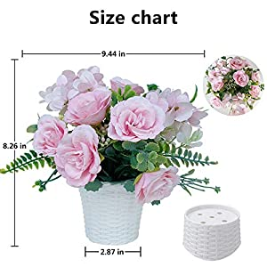 laponee artificial rose flowers with vase fake silk rose flowers decoration for table home office party meeting room party (pink)silk flower arrangements