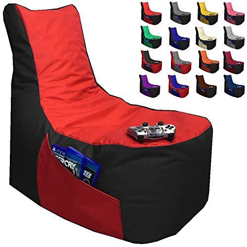 Sitzsack Gamer Lounge Uni Farbe & 2-farbig mit Füllung Ø 85-90cm Gaming BeanBag Sitzkissen Bodenkissen Kissen Sessel Sofa (Schwarz - Rot)