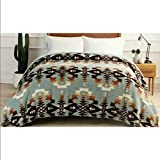 Pendleton King Avra Valley Teal Sherpa Blanket 112 by 92 Over 10,000 Square inches