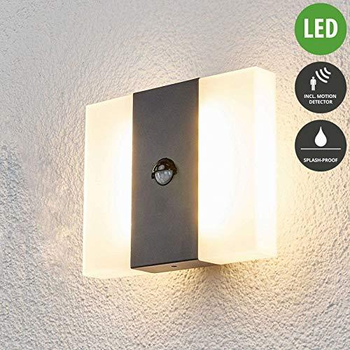 Lampenwelt LED Wandleuchte außen 'Kumi' mit Bewegungsmelder (spritzwassergeschützt) (Modern) in Alu aus Aluminium (20 flammig, A+, inkl. Leuchtmittel) - Außenlampe, Wandlampe für Outdoor & Garten