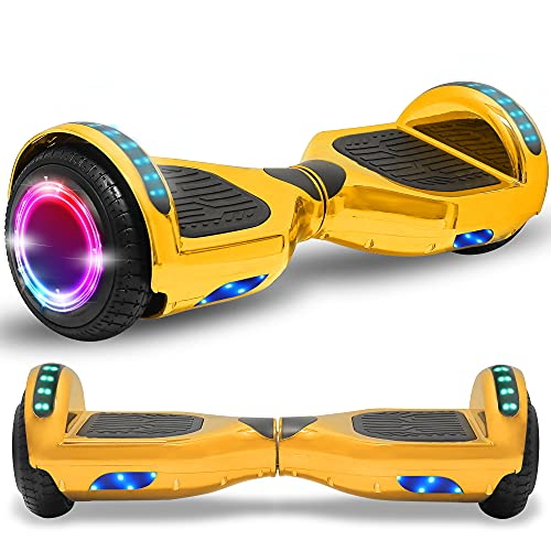 Beston Sports Newest Generation Electric Hoverboard Dual Motors Two Wheels Hoover Board Smart self Balancing Scooter with Built in Speaker LED Lights for Adults Kids Gift (Solid Pink)