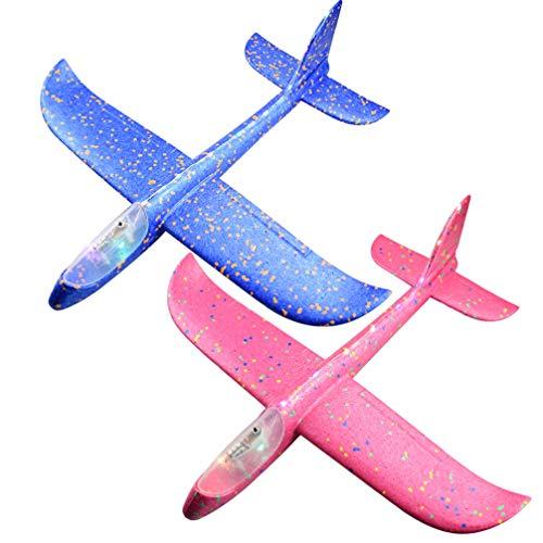 TOYANDONA 2 Stücke Kinder Segelflugzeug Modell LED Styroporflieger Leuchtende Flugzeug Spielzeug Styropor Flieger Gleitflugzeuge Segelflieger Wurfgleiter für Kindergeburtstag Outdoor