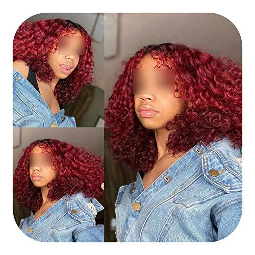 PJPPJH Perruques pour Femmes Cheveux Humains, 1B / 27 Couleur d'ombre Courte Cheveux bouclés Avant de Lacet Cheveux Humains avec des Cheveux pré plumés Dentelle Bob
