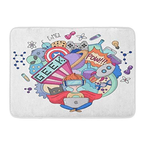Goodshope Fußmatten Badteppich für drinnen und draußen, mit Cartoon-Motiven, Motiv Geek Nerd Gamer, Alien America, Fledermaus, Comic, Badezimmer-Dekoration, rutschfest, 40,6 x 61 cm