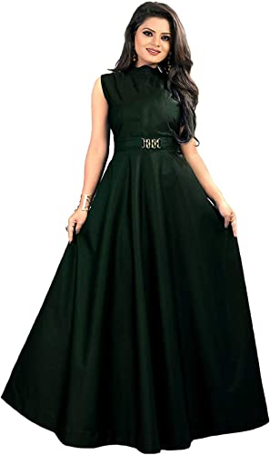 LONG TAFFETA SILK FULL STITCHED GOWN FOR WOMEN AND GIRL WITH FANCY BAKAL