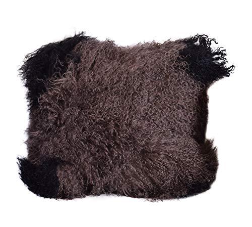 Naturasan Coussin en peau de mouton véritable avec fermeture Éclair Oreiller de canapé Coussin décoratif très exclusif 40 x 40 cm, Peau d'agneau, Taupe mit Schwarz, 40 x 40 cm