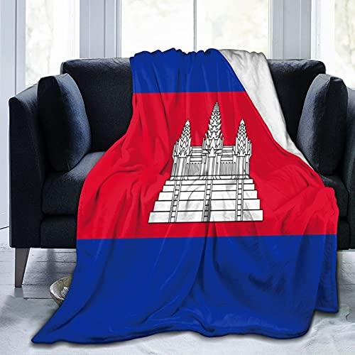 Flanelldecke mit Flagge von Kambodscha, flauschig, bequem, warm, leicht, weich, Überwurf für Sofa, Couch, Schlafzimmer