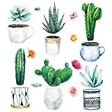 Fenster-Aufkleber Set Pflanzen auf klarer Folie I 3 DIN A4 Bögen mit insgesamt 19 Stickern I mit Kakteen bunten Blumen und Blumentöpfen I Doppelseitig und selbstklebend I Vogelschutz I dv_872