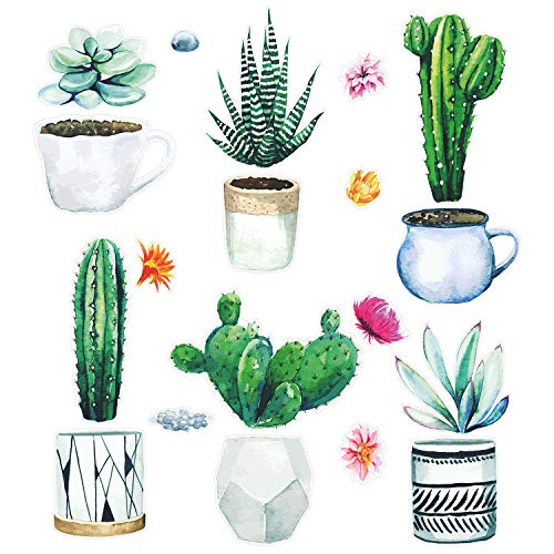 Fenster-Aufkleber Set auf klarer Folie I 3 DIN A4 Bögen mit insgesamt 19 Stickern I mit Kakteen bunten Blumen und Blumentöpfen I Doppelseitig und selbstklebend I...