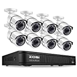 ZOSI 1080p H.265+ Security Camera System for Home, 5MP Lite 8 Channel CCTV DVR and 8 x 1080p Weatherproof Bullet Cameras Outdoor Indoor with 120ft Night Vision and 105°Wide Angle (No HDD Included)