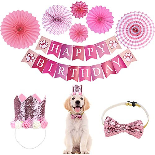 Dog Birthday Party Suppliers Hat Crown Outfit Decorations for Small Medium Girl Dogs Happy Birthday Banner Bow Tie Paper Fans Pink by Wersatilone