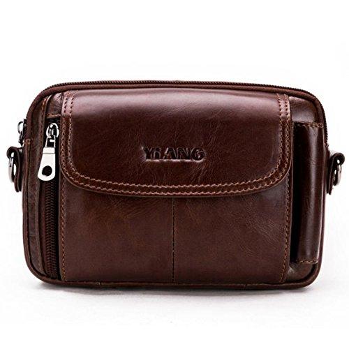 Leathario Bolso Cinturón de Piel Riñonera para Hombre-Pequeña Bolsa de Bandorela-Funda para 4~6 Pulgada Phone Marrón 02