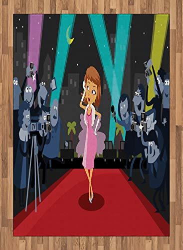 ABAKUHAUS Paparazzi Tapis Tissé à Plat, Actrice sur Le Tapis Rouge, Salle de Séjour Chambre à Coucher Salle à Manger, 160 x 230 cm, Multicolore