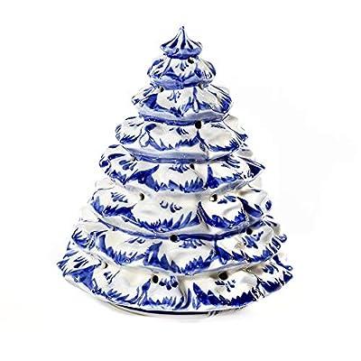 Collectible Figurine Illuminated Christmas Tree Figurine Blue&White Porcelain. Gzhel 6.8-inch Figurines for Decor