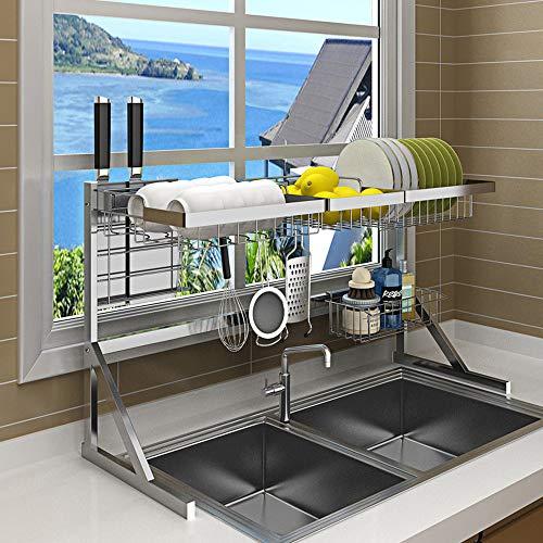 anruo Spoelbak droogrek keuken afvoer rek schotel kom roestvrijstalen opslag teller organisator afdruiprek