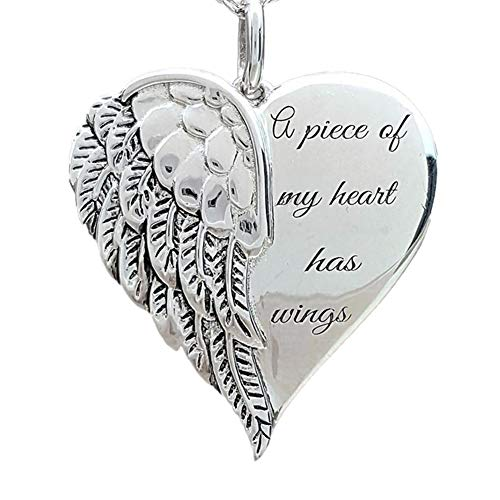 Tennessee526 Necklace Pendant Neck Chain Holiday Gift Fashion Accessories Fashion Women Angel A Piece Of My Heart Has Wings Letter Pendant Necklace Gift - Silver