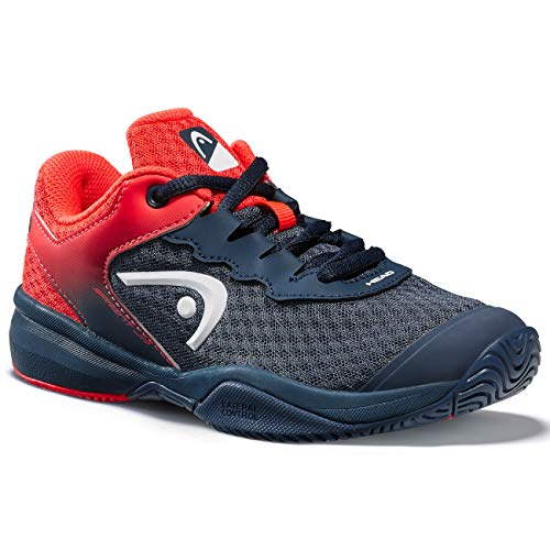 HEAD Unisex-Kinder Sprint 3.0 Junior Tennisschuh, Navy blau/neon rot, 39 EU