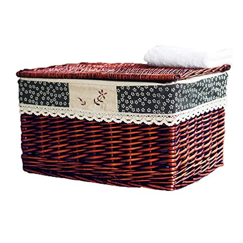 Heding Storage Basket Planting Wicker Rectangle Hand Weaving With Lid Cotton Lining Moisture Proof Wear Resistant Bedroom Clothes, 2 Colors (Color : E, Size : 31X20X17CM)