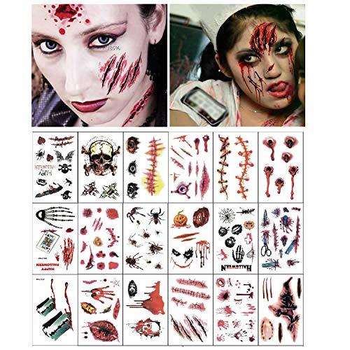 Tatuajes de cicatrices de Halloween, 18 hojas Vampiro Zombie de Halloween Cicatrices Herida Sangrienta Falsa Tatuajes temporales, para maquillaje de disfraces de cosplay (Tatuajes de zombis)