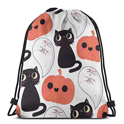 Kordelzug Rucksack Spooky Black Cat und Kürbis wasserdicht Kordelzug Rucksack Erwachsene Wandern Sport Rucksack Aufbewahrungstasche