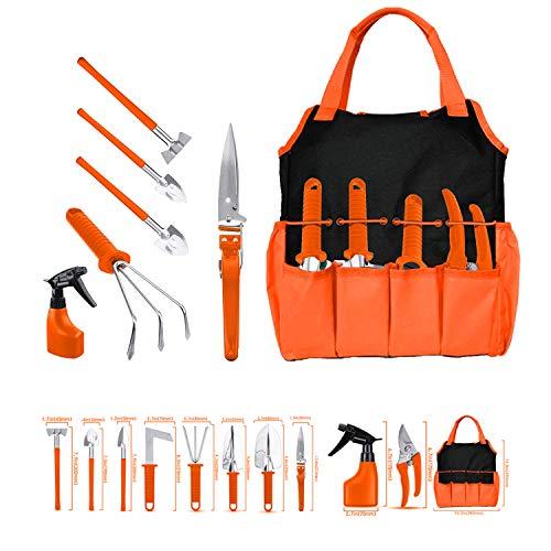 Gardening Tool Set 11 Pieces of Stainless Steel Gardening Tools, with Portable Gardening Tool Bag, Anti-Rust Ergonomic Handle, for Men and Women (Orange)