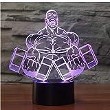 Veilleuse 3D Colorée Visual Night Lights Dumbbell Muscle Man Forme Chambre Chambre Lampe De Table Led Culturisme Sommeil Éclairage Enfants 7 Coloré Cadeau D'Anniversaire Décoration De noël