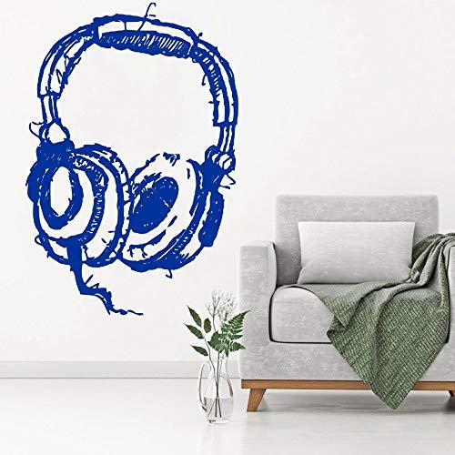 DIY Dj koptelefoon luisteren kunst muur sticker abstracte muziek hoofdtelefoon studio muurstickers home fashion decoratie behang 50.4x75.6cm