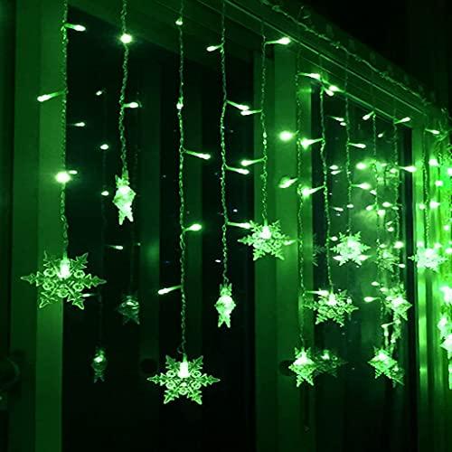 JWINDERU Luz de Copo de Nieve de 4 M, Luces de Cadena de Red A Prueba de Agua, 96 Luces Cadena Hadas Árbol Navidad LED, Valla Balcón Interior Aire Libre, Patio Trasero, Decoración Navidad Green