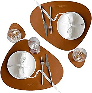 Joylike Leather Placemats and Coasters Set of 2 Table Mats and 2 Coffee Mats,Waterproof Greaseproof Heat-Resistant Washable Irregular Place Mats for Dining Table (Brown)