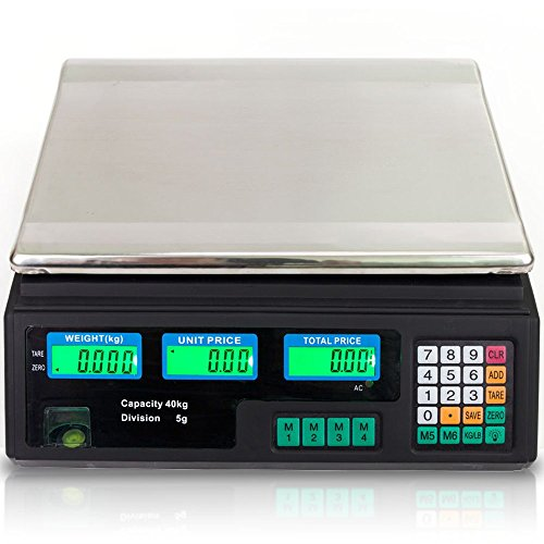 88LB 40KG Electronic Price Computing Scale | Digital Deli Food Produce Weight Scales with LCD Display for Retail Outlet Store, Kitchen, Restaurant Market, Farmer, Food, Meat, Fruit