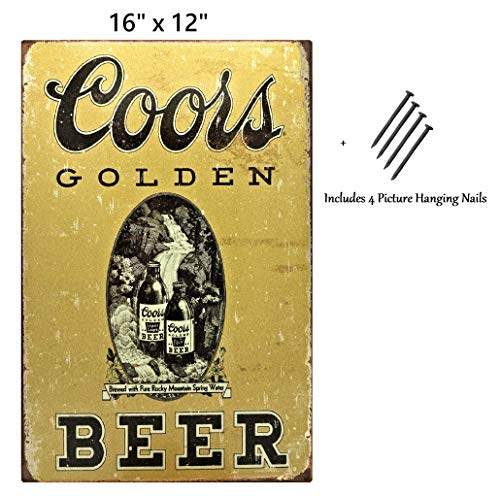 UNiQ Designs Coors Golden Beer Coors Sign Vintage Metal Beer Tin Signs Bar Signs Vintage Beer Wall Decor Alcohol Signs Beer Funny Signs for Bar Beer Decorations Bar Sign Decor 16x12