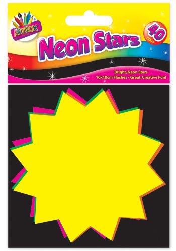 Artbox Präsentationskarten in Sternform, fluoreszierend, 10x10cm, 40 Stück